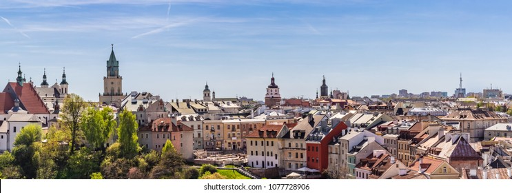 Lublin - a panorama of the old town with the prominent Po Farze square and the Trinitarian tower.