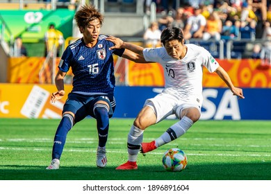 LUBLIN, POLAND - 04 June, 2019:  FIFA U-20 World Cup Poland 2019, Japan - South Korea o.p Kota Yamada, Lee Kangin