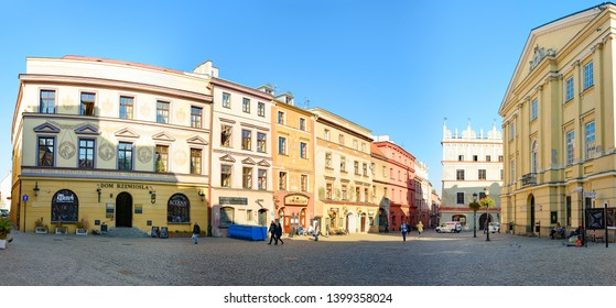 Lublin, Poland – 06.11.2018: Panorama of square in beautiful Polish city of Lublin