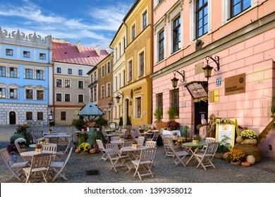Lublin, Poland – 06.11.2018: Street café in beautiful Lublin, Poland