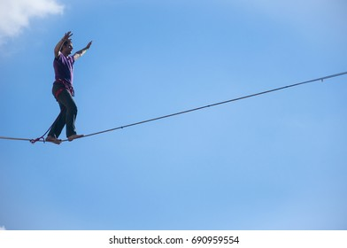 LUBLIN, POLAND- 29 july 2017- slackliner in old town at Urban Highline Festival placed in city space of Lublin - biggest slacklining spectacle in the world