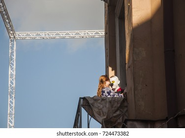 LUBLIN, POLAND- 29 july 2017- clown on balcony in old town during show at Carnaval Sztukmis Festival placed in city space of Lublin dedicated to theatre, circus and street art