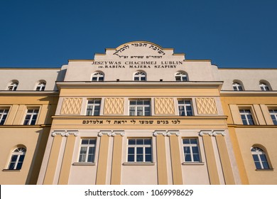 Lublin Poland, April 2018. Chachmei Lublin Yeshiva building (Torah Academy), newly renovated and now a hotel.