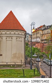 LUBLIN, POLAND - APRIL 29, 2019: Photo of Burning lantern of Memory at the tower of Donjon Lublin Castle.