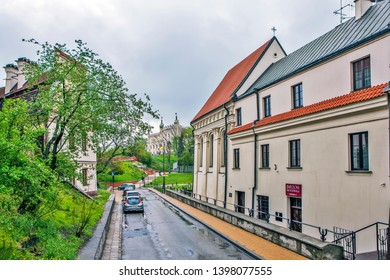 LUBLIN, POLAND - APRIL 29, 2019: Photo of Ulica Kowalska (Kovalskaya Street) in the old town overlooking the Lublin Castle.