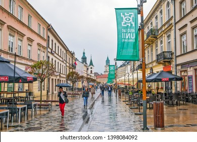 LUBLIN, POLAND - APRIL 29, 2019: Photo of most famous street in Lublin is the Krakow suburb.