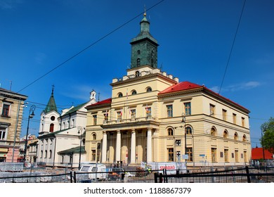 Lublin, Poland - April 30, 2018: Lublin New Town Hall, built in the Classical architectural style in 1827, is the seat for the local authorities, President of Lublin and the Youth City Council.