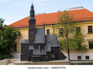 Lublin, Poland – CIRCA  JULY, 2019: the model of the church, which stood in that place since 9th to 19th century. The place of the ruins – is the oldest part of Lublin Old Town. Plac Po Farze square.