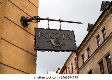 Lublin / Poland - CIRCA YULY, 2019 : The old post office in polish city Lublin. City center of Lublin.