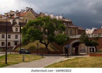 LUBLIN, POLAND - CIRCA YULY, 2019: City gate and bridge the old city center of Lublin. Near Zamkowa (Zamkovaya) street.