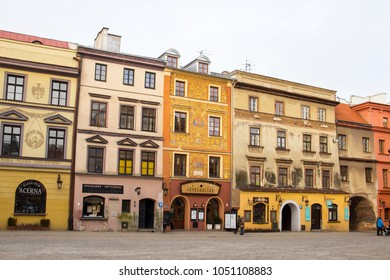 LUBLIN, POLAND - JANUARY 16, 2018: Beautiful old buildings on Rynek square in the center of Lublin old town