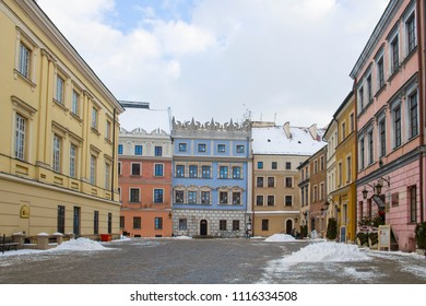 LUBLIN, POLAND - JANUARY 17, 2018: Rynek square in the old town of Lublin