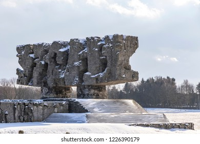 LUBLIN, POLAND - JANUARY 17, 2018: Monument to Struggle and Martyrdom (Polish: Pomnik Walki i Meczenstwa) in Majdanek concentration camp in Lublin, Poland