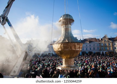 Lublin Poland - January 6, 2015: The procession of three kings on the square near the Lublin Castle