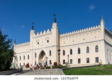 Lublin, Poland - Jul 27, 2018: Royal Castle of Lublin, bridge with tourists. The Lublin Castle is a medieval castle in Lublin adjacent to the Old Town district and close to the city center