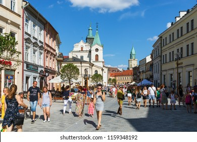 Lublin, Poland - Jul 27, 2018: Streets and architecture of the old city of Lublin. Lublin is the ninth largest city in Poland.