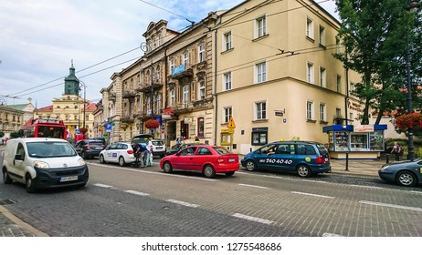 Lublin, Poland - July 24, 2018: Fragment  a beautiful Polish city. Lublin is a city of inspiration.