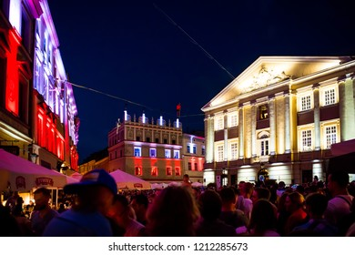 LUBLIN, POLAND - JULY 27, 2018: Streets and architecture of the old city of Lublin in the evening. Lublin is the ninth largest city in Poland.