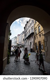 LUBLIN, POLAND - JULY 27, 2018: Streets and architecture of the old city of Lublin. Lublin is the ninth largest city in Poland