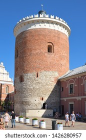 LUBLIN, POLAND - JULY 30 2017: View of the tower (stolp) of the Royal Castle in Lublin.