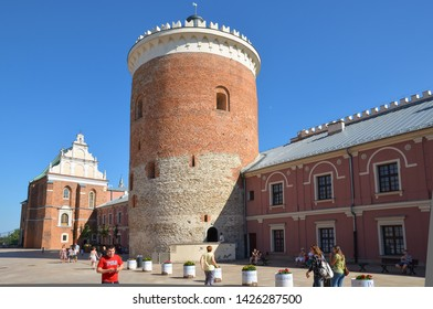LUBLIN, POLAND - JULY 30 2017: View of the courtyard of the Royal Castle in Lublin.