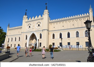 LUBLIN, POLAND - JULY 30 2017: The main gate of the neo-gothic part of the Royal Castle in Lublin.