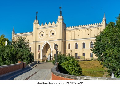 LUBLIN, POLAND - Juni 07, 2018: Main Entrance Gate of the Neo-gothic Part of Lublin Castle. Lublin is largest Polish city east of Vistula River and capital of Lublin province.