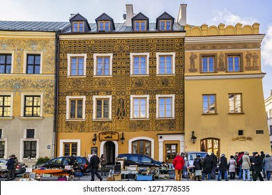 LUBLIN, POLAND - NOVEMBER 29, 2015: Lublin street view. Lublin is largest Polish city east of Vistula River and capital of Lublin province with historic architecture and royal castle.