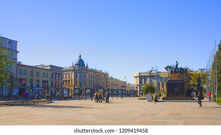 LUBLIN, POLAND - October 15, 2018: Monument to Marshal Jozef Pilsudski and Grand Hotel at Lithuanian Square in Lublin