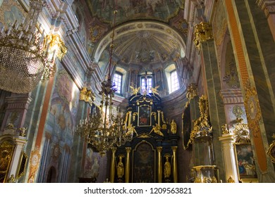 LUBLIN, POLAND - October 15, 2018: Interior of Lublin Cathedral of Saint John Baptist and Saint John Evangelist in Old Town