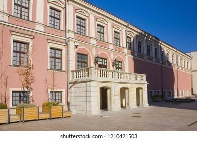 LUBLIN, POLAND - October 15, 2018: Courtyard of Lublin Royal Castle in Lublin