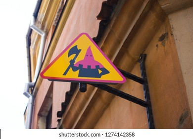 LUBLIN, POLAND - October 15, 2018: Sign of the executioner in Old Town of Lublin