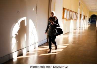 Lublin Poland - October 3, 2014: Young student in the corridor of the Lublin Catholic University