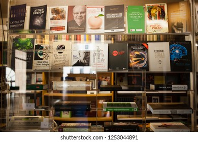 Lublin Poland - October 3,2014:Books in a book shop at the Catholic University. Book titles in the Polish language: Evangelical Catholicism, Imaginary atheism, 7 great myths, Honestly about the church