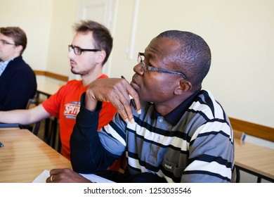 Lublin Poland - October 6, 2014: Overseas students sit at their desks during a lecture on foreign language studies at the Catholic University of Lublin