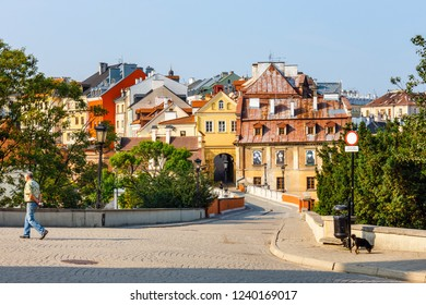 Lublin, Poland, September 01, 2018: Historic center of the old town in Lublin, Poland.