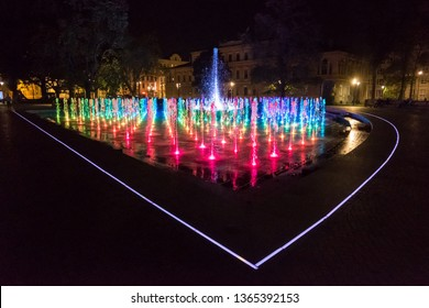 Lublin, Poland - September 05, 2018: Multimedia Lublin Fountain on Lithuanian Square in Lublin, Poland