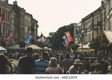 LUBLIN, POLAND-25 june 2017- Krakowskie przedmiescie street