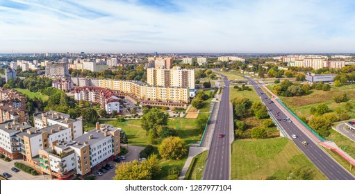 Lublin seen from the air. Landscape of the city near Aleja Mieczysław Smorawiński in Lublin.