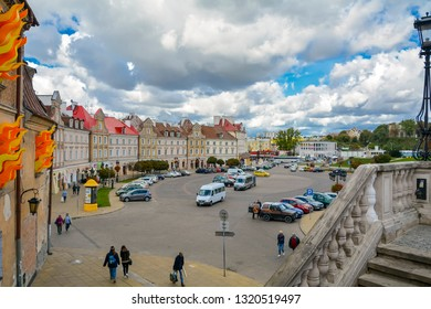 Lublin street view in old town of Lublin is Polish city east of Vistula River near Warsaw. City Lublin, Poland: September 2018. Beautiful summer sunny day. Typical facade architecture on street Lublin
