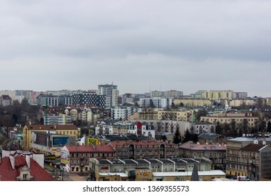 Lublin/Poland - February 18 2018: Cityscape of Lublin showing the contrast between the Old Town and the New Lublin architecture