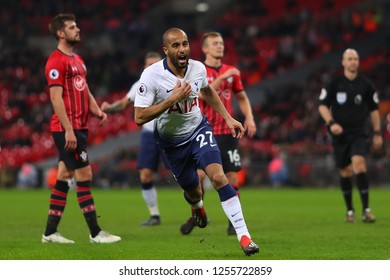Lucas Moura of Tottenham Hotspur celebrates after scoring his sides second goal - Tottenham Hotspur v Southampton, Premier League, Wembley Stadium, London (Wembley) - 5th December 2018