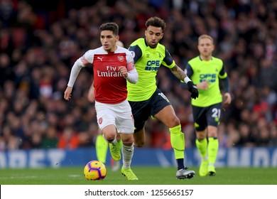 Lucas Torreira of Arsenal beats Daniel Williams of Huddersfield Town - Arsenal v Huddersfield Town, Premier League, Emirates Stadium, London (Holloway) - 8th December 2018