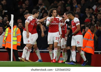 Lucas Torreira of Arsenal is congratulated after scoring the opening goal - Arsenal v Huddersfield Town, Premier League, Emirates Stadium, London (Holloway) - 8th December 2018
