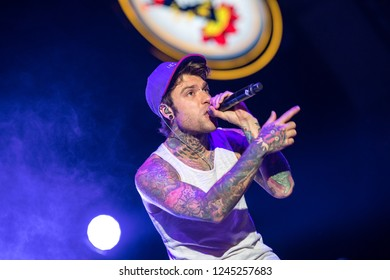 Lucca, italia - july 13, 2017:  Fedez he performs on stage during a summer music festival. documentary editorial