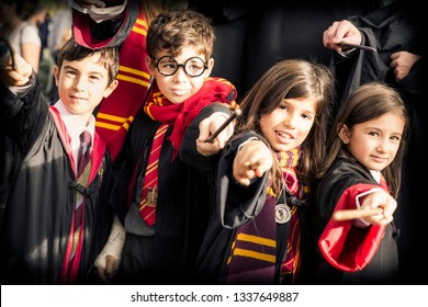Lucca, Italy, 03/11/2018: Children disguised as Harry Potter during the carnival organized in the city of Lucca in Italy