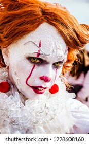 Lucca, Italy, 03/11/2018: Cosplayer disguised as a scary clown during the manifestation of the Lucca Comix 2018