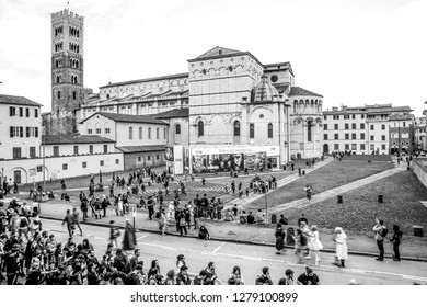 Lucca, Italy, 04/11/2018: Tourists and cosplayers visiting Lucca during the Lucca Comix 2018