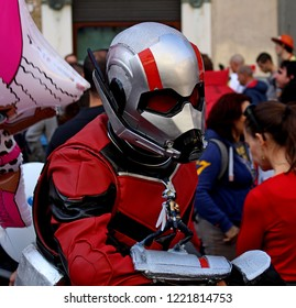 Lucca, Italy 3 November 2018: boy masked by Antman at Lucca Comics and Games