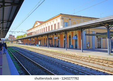 LUCCA, ITALY -30 SEP 2018- View of the Lucca Railway Station, a train station located in Lucca, a historic city in Tuscany, Central Italy.